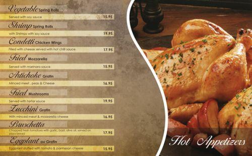 In menu nhà hàng khách sạn