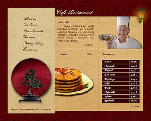 In menu nhà hàng hiện đại
